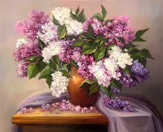 Lilac Painting, Still Life Flowers, Still Life Art, Victorian Women, Life Planner, Flower Art, Art Boards, Flower Arrangements, Crafts For Kids