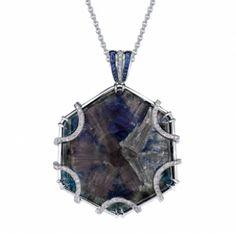 Omi Privé: Trapiche Sapphire Slice and Diamond Pendant