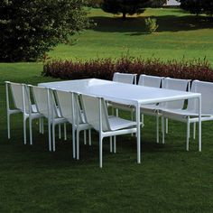 Knoll Richard Schultz 1966 Collection Outdor Dining Table and Armless Dining Chairs White Frame White Mesh and Strap