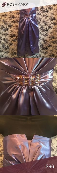 Lilac party, prom dress, satin New lilac colored prom/party dress. Rhinestone embellishment at empire waist , front over skirt , back of inner skirt is made from a stretchy material for a better fit. Dresses Prom