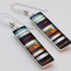 Striped Multi-Color Ribbon Pattern-Long Rectangular Sterling Silver and Resin Earrings Ready to Ship. $68.00, via Etsy.