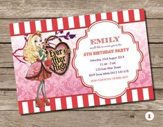 Apple White Ever After High Party Invitation birthday invite Fairy Tale Princess Party Princesses Girl Personalised Card Printable