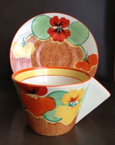 Clarice Cliff Art Deco Nasturtium Bizarre Cup & Saucer | eBay