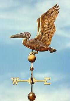 Pelican Weather Vane Sitting Pelican Weather Vane Sitting.  It can be made with or without a fish in its beak.  The fish can be made with either gold-leafed, nickel silver, or copper depending on your preference.  We have made the Pelican with blue eyes or with yellow eyes.  Many of our customers ask us to add optional gold leaf to the Pelican's beak and legs. This creates a nice contrast when the copper weathers and turns chocolate brown in color.