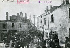 Bratislava, Pozsony, Pressburg, ghetto after fire 1913 Bratislava, Street View, Places, Postcards, Painting, Times, Painting Art, Paintings, Painted Canvas
