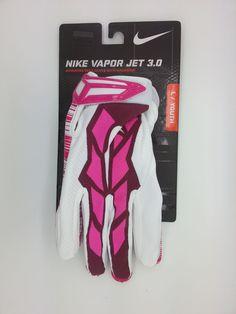 NIKE VAPOR JET 3.0 MAGNIGRIP PINK FOOTBALL GLOVES PAIR (YOUTH LARGE) - NEW #Nike