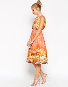 Image 4 ofASOS Crop Top Prom Dress In Faded Floral