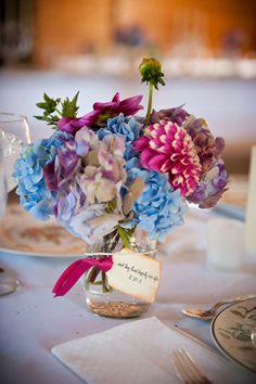Table arrangement - hydrangea, dahlias