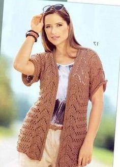Вязание для женщин  Вязание полным. Вязаный спицами жилет для полных.Туника…