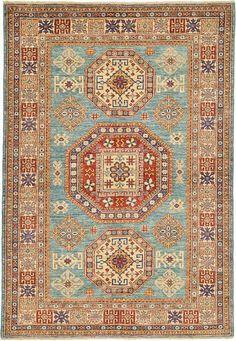 Blue Geometric Kazak Area Rug