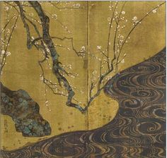 """2015年  Rinpa  琳派美學 紅梅白梅圖  Portion of Ogata Kōrin's Kōhakubai-zu screen. Kōrin's """"Red and White Plum Trees"""" (1714/15) established the direction of Rinpa for the remainder of its history."""