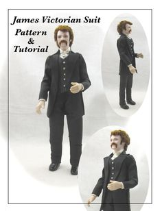 JAMES VICTORIAN Man Doll Pattern and Tutorial PDF Miniature Dollhouse 1:12 Scale