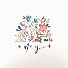 Hooray for May by Rosie Harbottle – decoration March Bullet Journal, Bullet Journal Inspiration, Bullet Journals, Frühling Wallpaper, Cover Pages, Graphic, Creations, Doodles, Floral