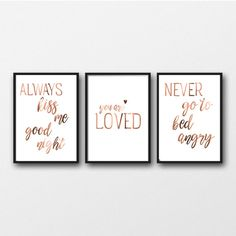 you are LOVED set of 3 bedroom prints real by PeppaPennyPrints