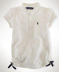 Ralph Lauren Kids Shirt, Little Girls Ruffle Collar Polo Shirt - Kids Tops & Sweaters - Macy's