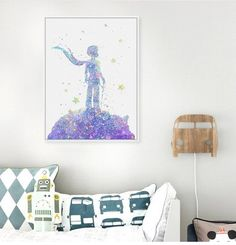 Original Watercolor Little Prince Pop Modern Movie A4 Art Print Poster Abstract Wall Picture Canvas Painting Boy Kids Room Decor