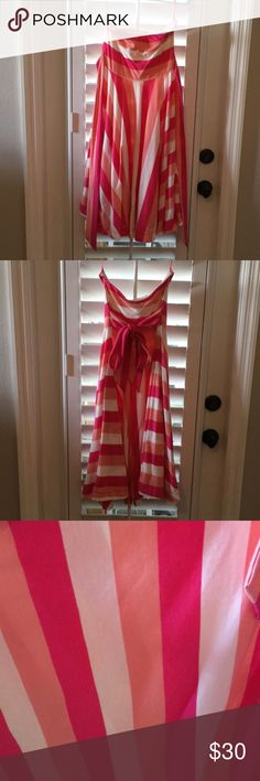 Tube top dress Tube top dress by American Eagle. Gently used and in excellent condition  . Prettty colors. Striped on top go horizontal and stripes on skirt go diagonal to make the dress really pop . Can tie in the back or front. American Eagle Outfitters Dresses Midi