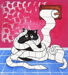 From Annya127 on Etsy: Playing with Paper - Funny and Cute Cat Art