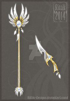 Celestial staff and dagger by Rittik-Designs on deviantART: Fantasy Jewelry, Fantasy Art, Fantasy Sword, Art Plastic, Arte Fashion, Armas Ninja, Anime Weapons, Weapon Concept Art, Fashion Design Drawings