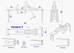 Shaving horse plan - Assembly 2D drawing (Variant 2)