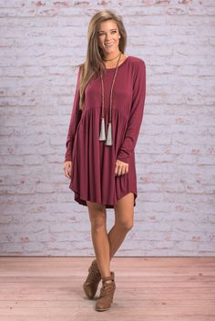 """""""Classically Romantic Dress, Burgundy"""" The beauty of this dress is that it can be dressed up or down! It's perfectly simple and the cut is wonderfully flattering!  #newarrivals #shopthemint"""