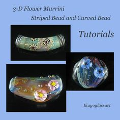 3-in-one Lampwork Tutorial:  How to Make 3-D Flower Murrini, Striped and Curved Beads by Ikuyo. $25.00, via Etsy.