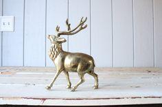 Items similar to Vintage Large Brass Elk // Solid Brass on Etsy