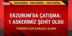 Erzurum'da çıkan çatışmada 1 askerimiz şehit oldu: Erzurum İl Jandarma Komutanlığınca Şenkaya ilçesi kırsal alanında sürdürülen Şehit Jandarma Uzman Onbaşı Doğan Akgöbek 17-19 operasyonunda teröristlerle sıcak temas sağlandı. Çıkan çatışmada Uzman Çavuş Yakup Yılmaz ağır yaralanarak helikopterle Erzurum'a getirildi. Atatürk Üniversitesi Araştırma Hastanesine kaldırılan Uzman Çavuş Yakup Yılmaz, yapılan tüm müdahaleler rağmen şehit düştü. Operasyon kapsamında 3 terörist ölü ele geçirilirken…