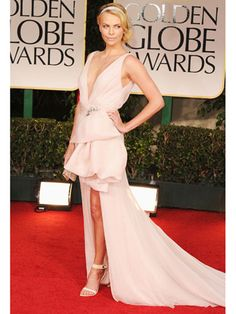 Charlize Theron in Dior Couture at Golden Globes.