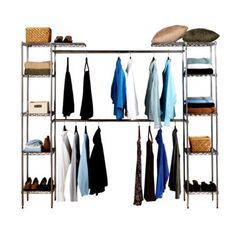Need more closet space? This organizer is only $105 from Target!  Add a curtain over it for a more polished look.