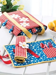 Seasonal Table Toppers, pattern can be used for a travel placemat; potluck placemat; etc.