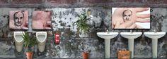 David Catá en el baño de Gloria Heldmound