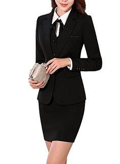 SK Studio Femmes Costume Manteau Jupe De Bureau Travail Blazer Revers  Bouton Costume Veste Noir 38 étiquette XL 8f5b8d67acf