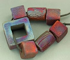 Raku Bead and Extrusion Focal Set by elementspottery on Etsy, $20.00