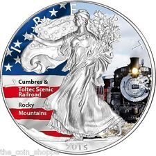 2015 1 oz Color Silver Eagle Coin - America`s Landmarks Series - Scenic Railroad