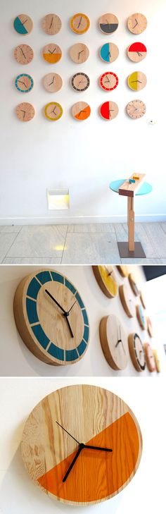 Love these minimal, bright-colored clocks. Wouldn't they make great gifts? Not sure if they are for sale though. They are currently on exhibition at Glasgow's GOODD Ltd exhibition space. See more i...