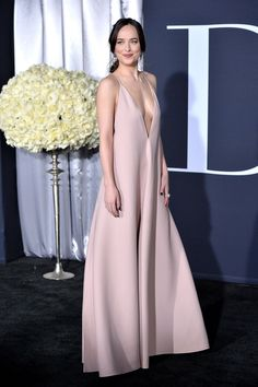 February 2 2017 She attended the Los Angeles premiere for Fifty Shades Darker in a plunging pink gown by Valentino.