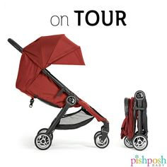 The Baby Jogger City Tour stroller is just over 14 lbs, but looks just like their larger scale City Mini stroller. Features include a tall seat base, footwell, near-flat recline, and a one-hand, 2-step fold. And it's small enough to stow in an airplane's overhead bin! Available in 5 colors. Priced at $199.  http://www.pishposhbaby.com/baby-jogger-city-tour.html