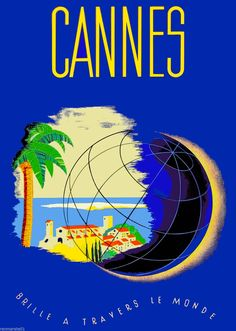 Cannes French Riviera France Europe European Travel Poster Art Advertisement 2