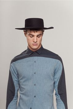 P-E-B fw14 Mens contrast color panel shirt. Would work well for women also