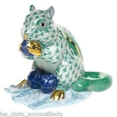 "Herend Hand Painted Porcelain  Figurine ""Chipmunk w Berries"" Green Fishnet Gold Accents."