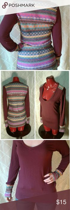 """Navajo Print top by Buckle Up for sale one size large long sleeve top by BKE or buckle. Navajo print on back burgundy in front. V neck scoop, overall excellent condition clean and ready to wear. Measures 16""""bust,15""""waist,overall length is 28"""". Very form-fitting rayon spandex blend. No stains and stitching looks excellent, sort of mesh in the back. Very beautiful and unique top as expected by Buckle. Buckle Tops Tees - Long Sleeve"""
