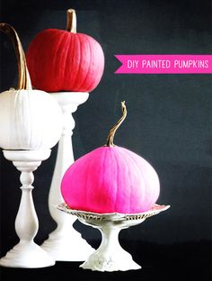 Painted Pumpkins on cake plates