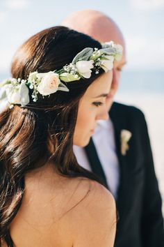 Floral crown with hair down.
