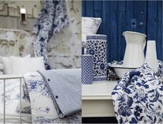 French country decor.  I just love blue and white in a bedroom.