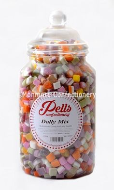 A traditional sweet jar containing a fine assortment of creme paste pieces Dolly Mixture, Sweet Jars, Wheat Gluten, Christmas Sweets, Confectionery, Jelly, Candy, Gifts, Christmas Class Treats