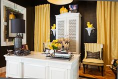 This office space was designed for Dwell With Dignity's first ever Thrift Studio. At the time, was working on a client's home where were going with yellow accents.  I was inspired by the color and wanted to take it to the next level with this project. I think the flamestitch chair was my absolute favorite piece in the vignette! studioten25.com