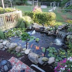 45 Favourite Pond Garden Ideas For Beautiful Backyard - Hof Ideen Backyard Water Feature, Ponds Backyard, Backyard Fences, Garden Fencing, Backyard Ideas, Pond Landscaping, Landscaping With Rocks, Tropical Landscaping, Fish Pond Gardens