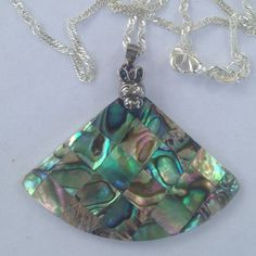 Abalone Necklace Abalone shell with sterling bail on a wavy chain stamped 925. New! Jewelry Necklaces