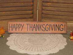 Primitive wood Autumn Thanksgiving sign shelf sitter farmhouse country